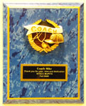 Image of  blue marbleized  FB plaque with a color painted coach relief
