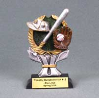 Standing wreath award featuring a bat, cap and ball in glove